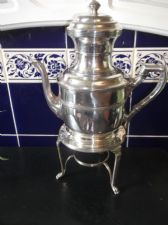 OLD SILVER PLATED TEAPOT ON BURNER STAND WITH DOUBLE STRAINERS SCOTT & RANDLE